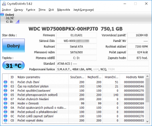 S.M.A.R.T. data mého WD 750 GB disku